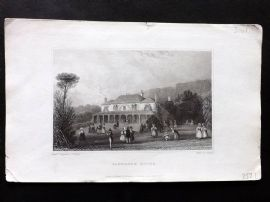 Barber 1834 Antique Print. Sandrock Hotel, Isle of Wight